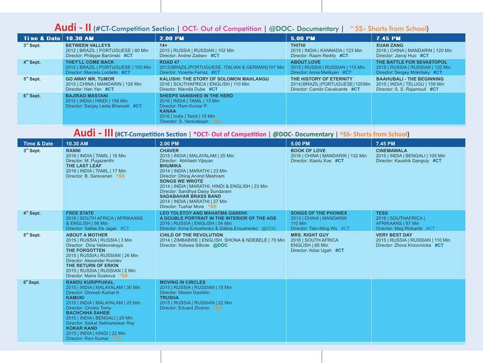 Schedule at BRICS Courtesy-Directorate of Film Festivals, Govt of India