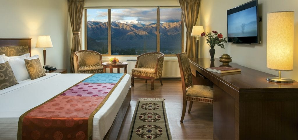 View of Stok Kangri mountain from bedroom at GDL