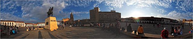 Panoramic View Of Bolivar Plaza
