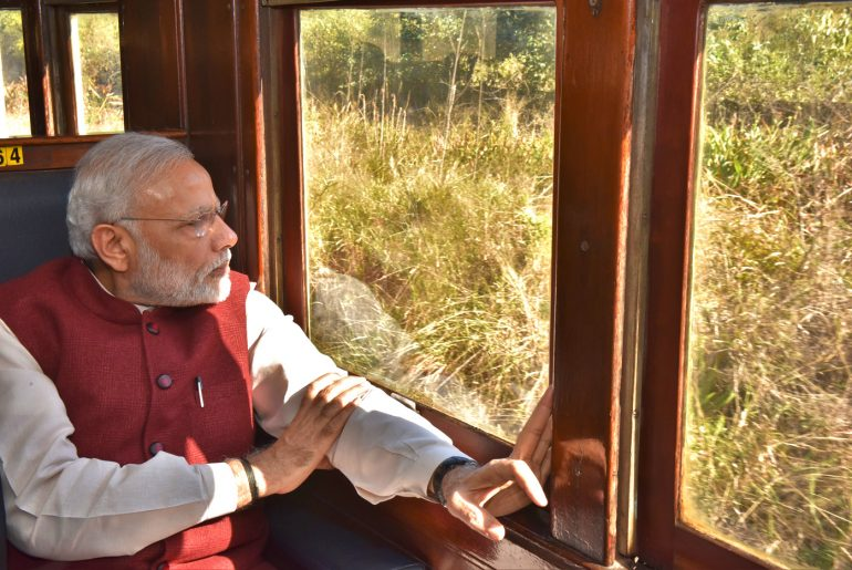 The Prime Minister, Shri Narendra Modi on the train from Pentrich Railway Station to Pietermaritzburg, in South Africa on July 09, 2016.