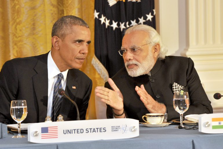 The Prime Minister, Shri Narendra Modi at the dinner hosted by the President of United States of America (USA), Mr. Barack Obama, at the White House, in Washington D.C. on March 31, 2016.