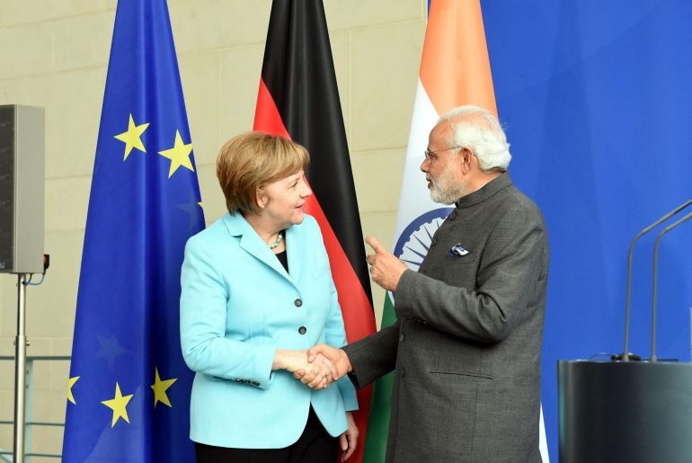 The Prime Minister, Shri Narendra Modi and the German Chancellor, Ms. Angela Merkel, during the Working Lunch, during the Joint Press Statement, at Federal Chancellery, in Berlin, Germany on April 14, 2015.