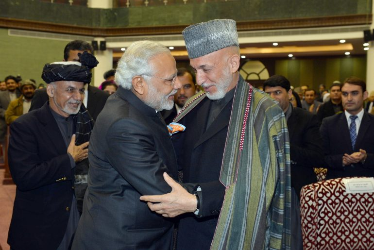 Kabul: Prime Minister Narendra Modi and the President of Afghanistan, Dr. Mohammad Ashraf Ghani at the inauguration ceremony of the Afghanistan Parliament, at Kabul, in Afghanistan on Dec 25