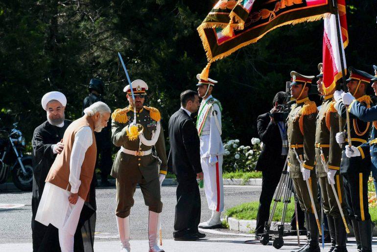 Narendra Modi with Iranian President Hassan Rouhani