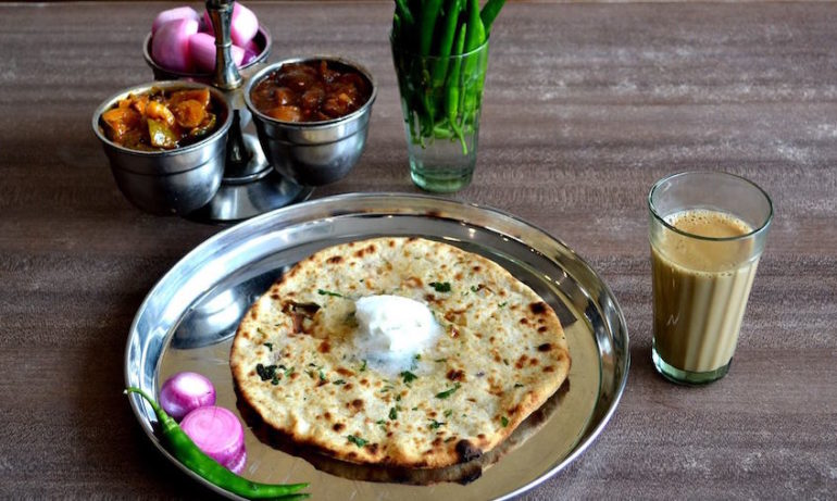 Paranthas with homemade butter at Amrik Sukhdev Dhaba in Murthal