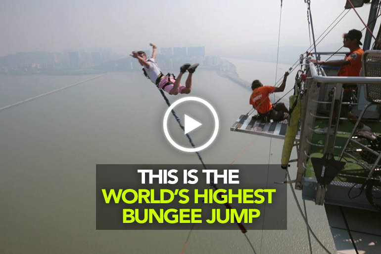 We Jumped From The World's Highest Bungee Point In Macao & It Was AWESOME