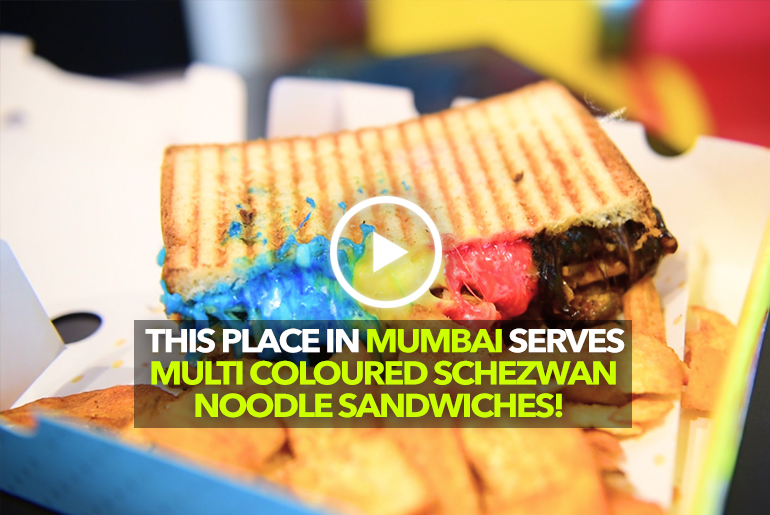 Try Out Multi Color Schezwan Noodle Sandwich At Dhadoom In Mumbai