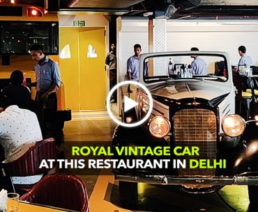 A Vintage White 1947 Chevy Parked Inside a Garage Bar In Delhi