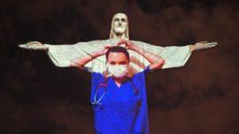 Christ the Redeemer lit up as doctor
