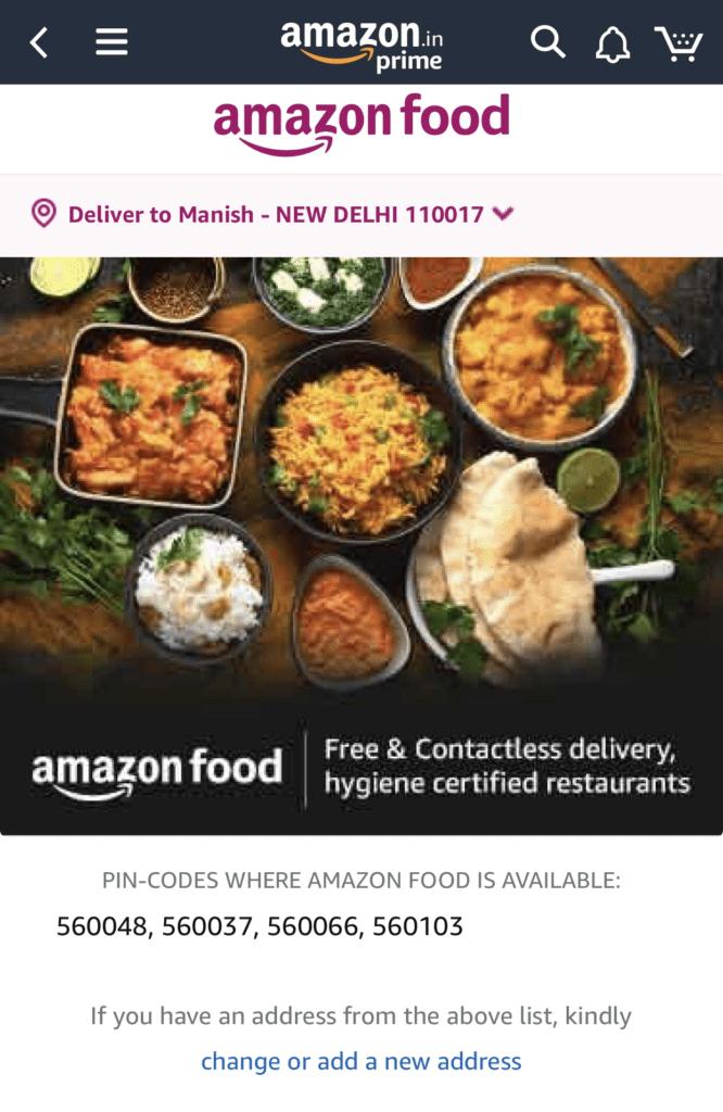 Amazon Food Delivery bangalore