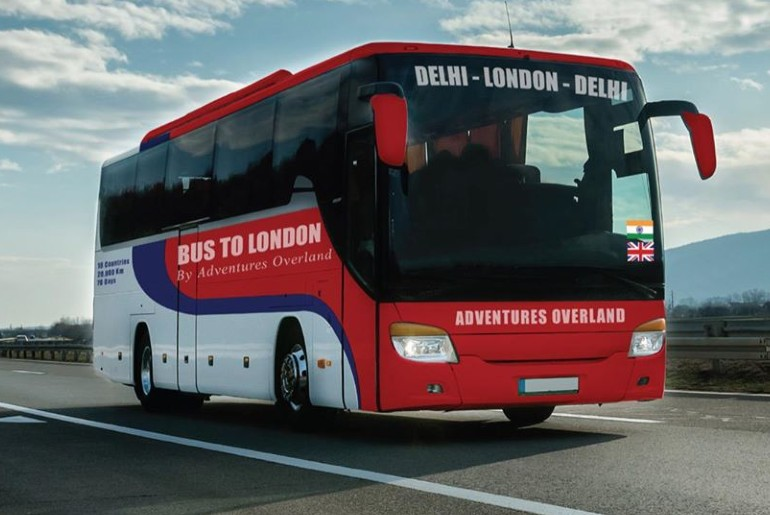 delhi to london bus