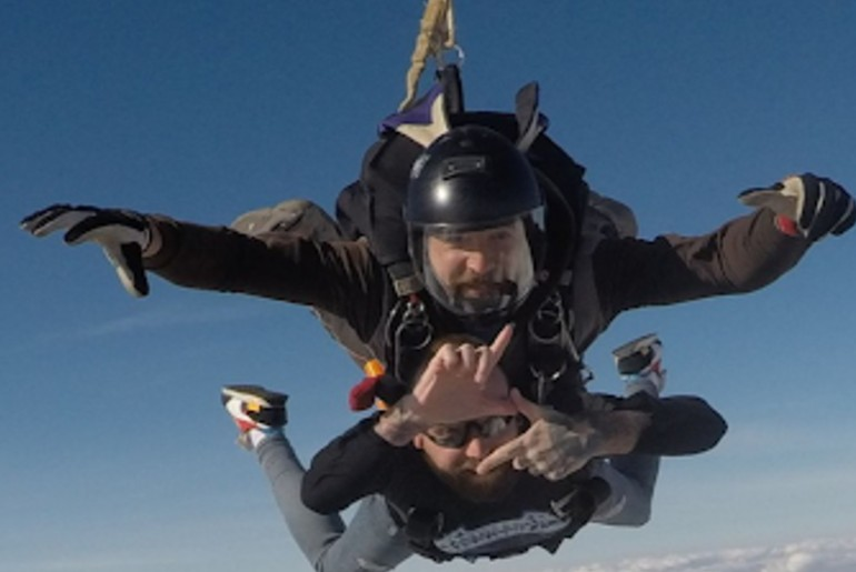 father skydives for stepson