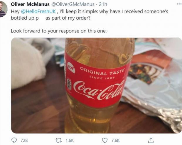 uk man gets urine in coke bottle