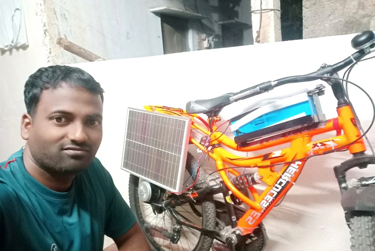 telangana solar powered bicycle