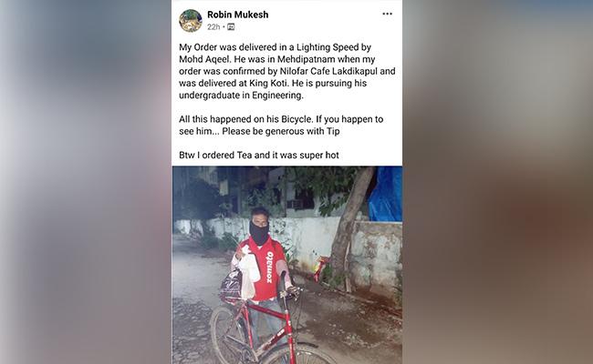 hyderabad zomato delivery man gets bike