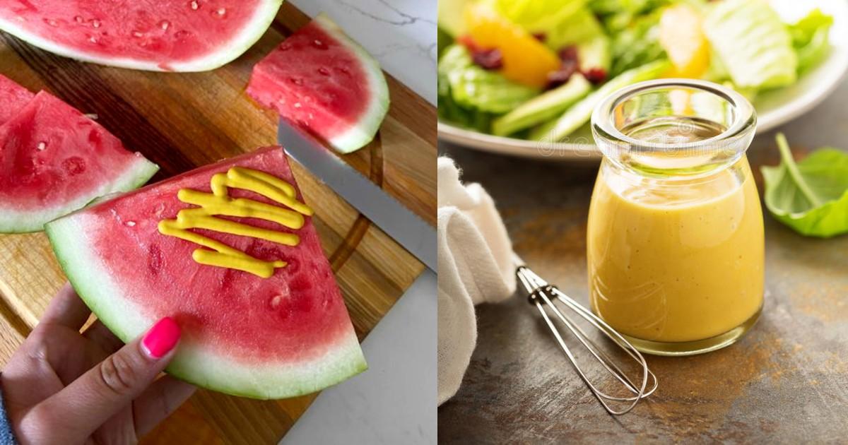 mustard on watermelon